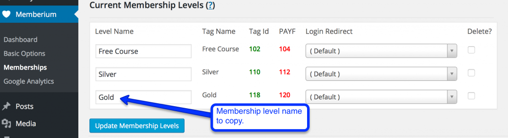 membership level name