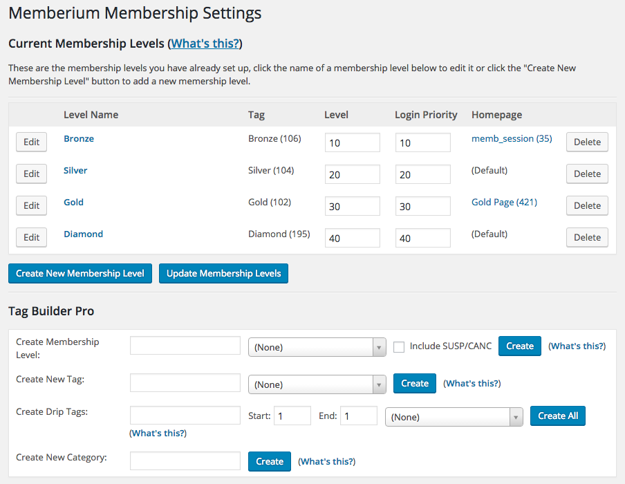 Memberium Membership Screen