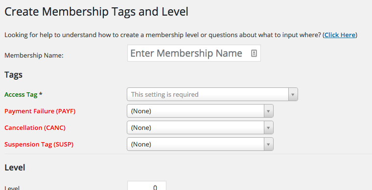 New Membership Level Tags