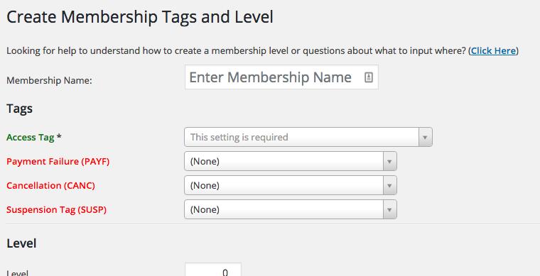 New Membership Level Tags